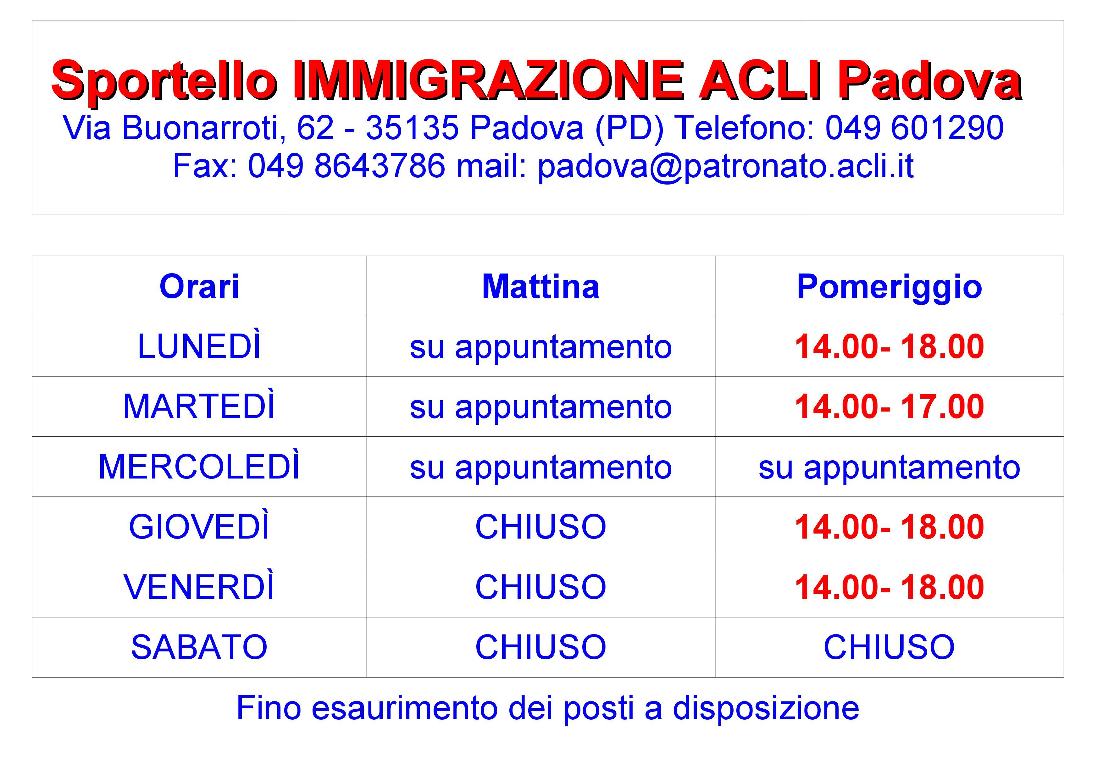 SERVIZI PER L\'IMMIGRAZIONE | Acli Padova